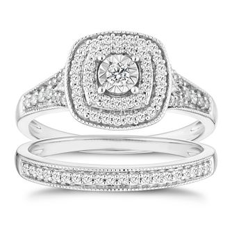 9ct White Gold 1/3ct Diamond Illusion Set Bridal Set - Product number 4839978