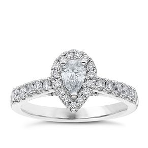 Platinum 3/4ct Diamond Pear Cut Solitaire Ring Halo Ring - Product number 4840100