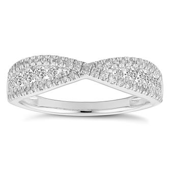 18ct White Gold 1/2ct Crossover Eternity Ring - Product number 4840526