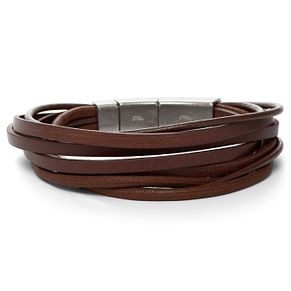 Fossil Men's Stainless Steel Brown Leather Bracelet - Product number 4842863