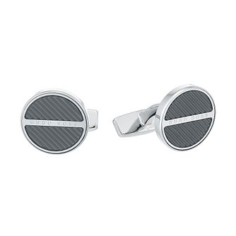 Hugo Boss Men's Stainless Steel Black Cufflinks - Product number 4843819