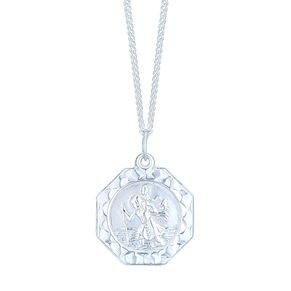 Sterling Silver Octagonal St Christopher Pendant - Product number 4863313