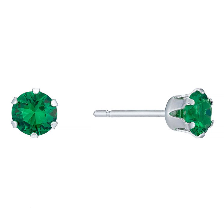 Sterling Silver Green Cubic Zirconia Stud Earrings - Product number 4863623