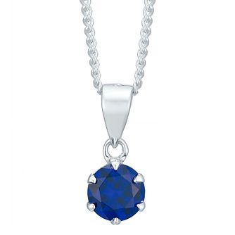 Sterling Silver Dark Blue Cubic Zirconia Solitaire Pendant - Product number 4863690