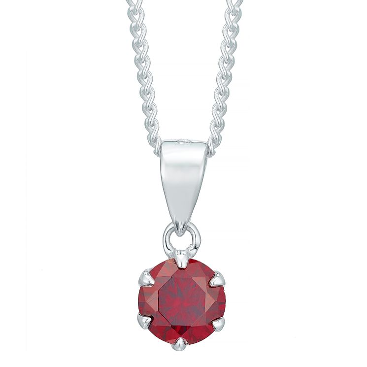 Sterling Silver Dark Red Cubic Zirconia Solitaire Pendant - Product number 4863704