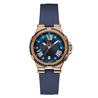 Gc Structura Ladies' Rose Gold Plated Blue Strap Watch - Product number 4873599