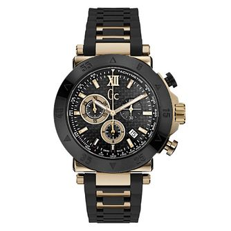 Gc Sport Men's Rose Gold Plated Black Strap Watch - Product number 4873912