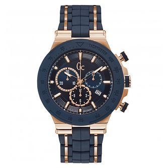 Gc Structura Men's Rose Gold Plated Blue Strap Watch - Product number 4874919