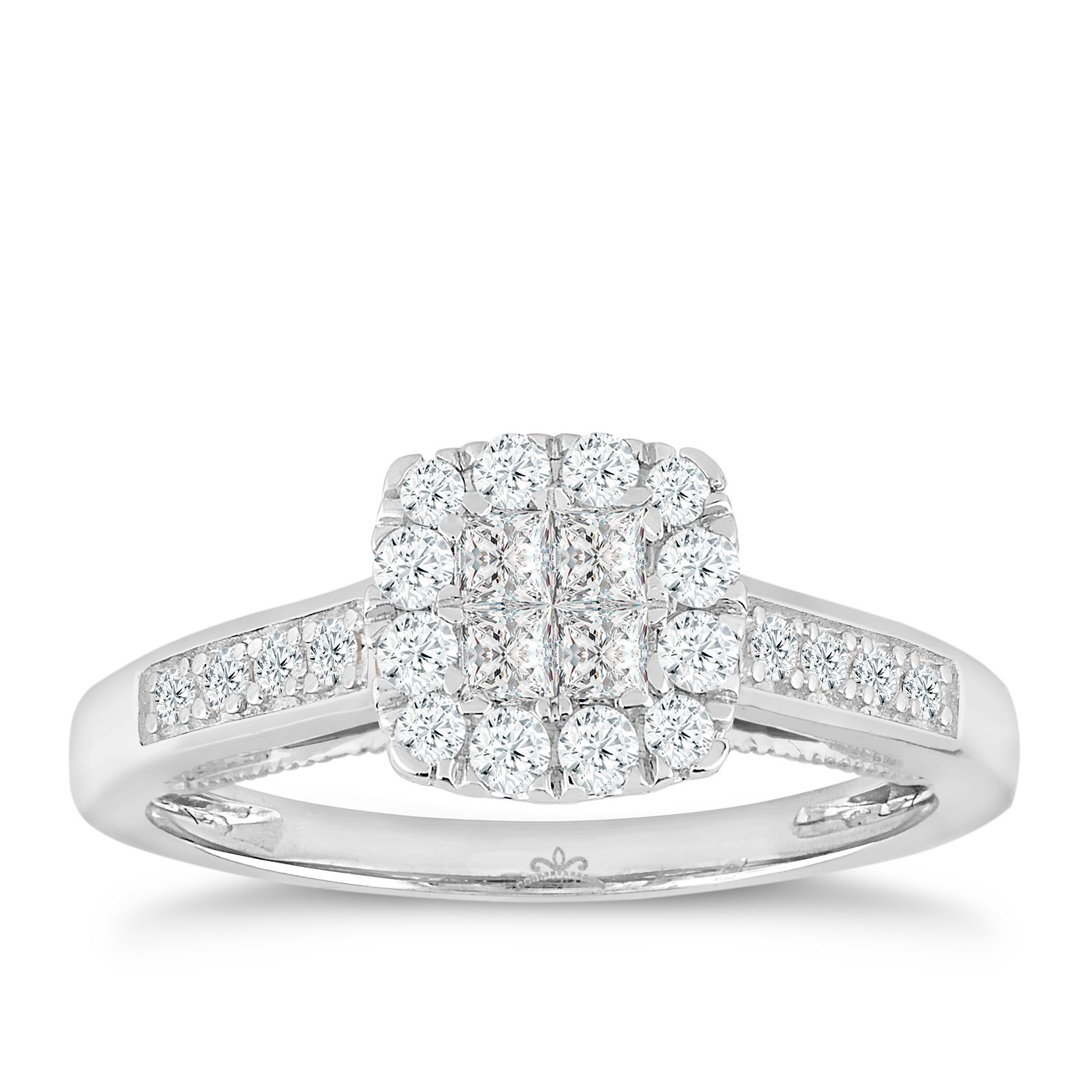 9ct White Gold 1 2 Carat Princessa Diamond Cluster Ring