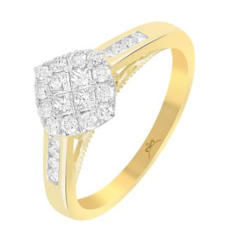 9ct Gold 1/2 Carat Diamond Square Cluster Ring - Product number 4876016