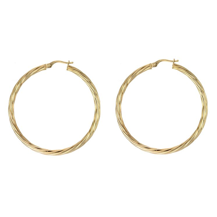 9ct Gold Thin Twisted Creole Earrings - Product number 4884930