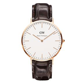 Daniel Wellington York Men's Brown Leather Strap Watch - Product number 4899466