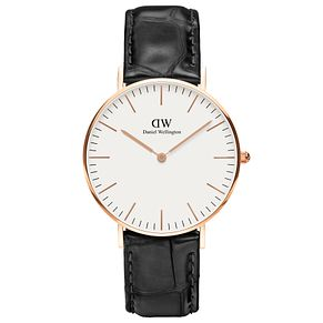 Daniel Wellington Reading Ladies' Black Leather Strap Watch - Product number 4899598
