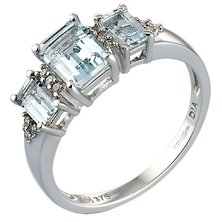 9ct White Gold Diamond and Aquamarine Ring - Product number 4905423