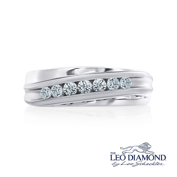 Leo Diamond Men's 18ct White Gold 0.50ct Diamond Band - Product number 4908228