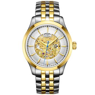 Rotary Men's Two Colour Skeleton Bracelet Watch - Product number 4909674
