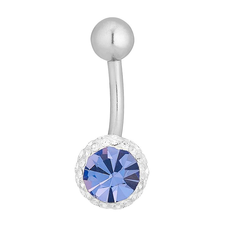 Surgical Steel & Lavender Crystal Belly Bar - Product number 4914066