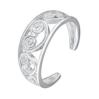 Sterling Silver Cut Away Heart Detail Toe Ring - Product number 4914120