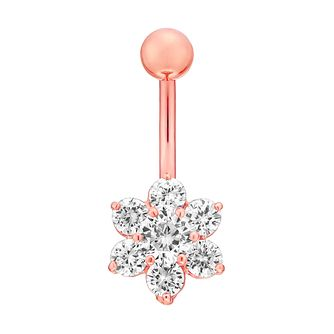 Rose Gold Stainless Steel & Silver Cubic Zirconia Belly Bar - Product number 4914147