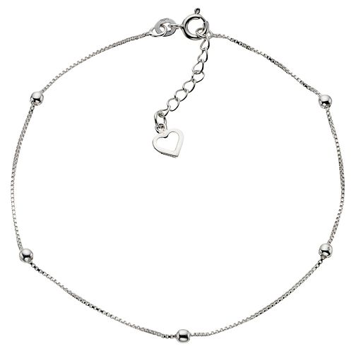 "Sterling Silver 9"" Ball & Heart Anklet - Product number 4914171"