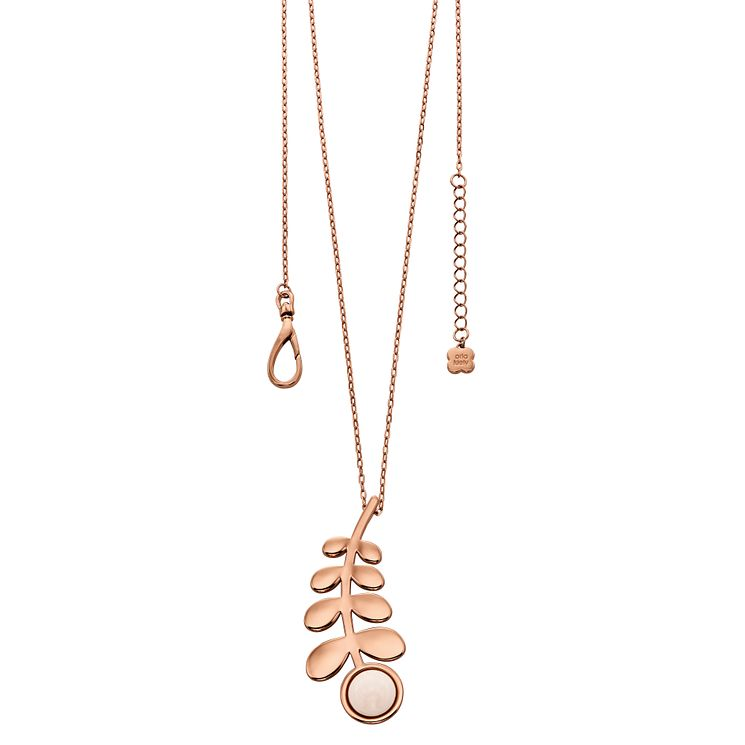 Orla Kiely Rose Gold-Plated Leaf & Stone Pendant 70cm - Product number 4917987