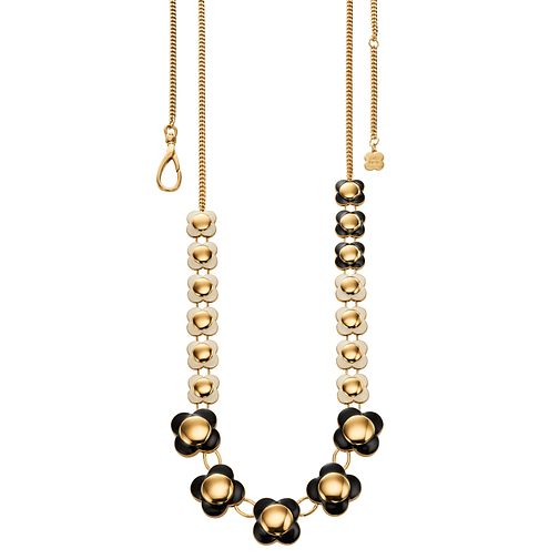 Orla Kiely Black & Cream Long Flower Necklace - Product number 4918215