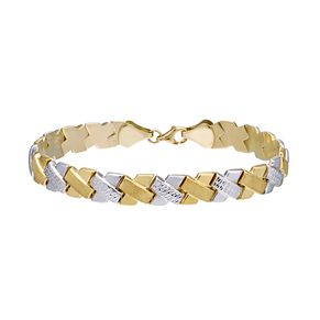 9ct Two-tone Gold Diamond-cut  Bracelet - Product number 4920007