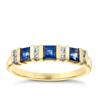 9ct Yellow Gold Sapphire and Diamond Eternity Ring - Product number 4921712
