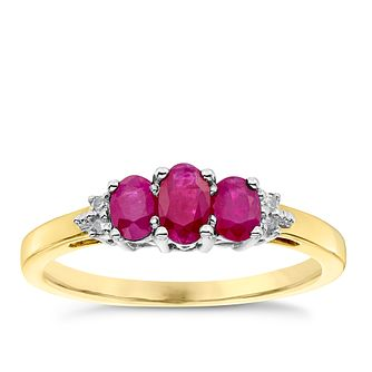 9ct Yellow Gold Ruby and Diamond 3 Stone Ring - Product number 4923758