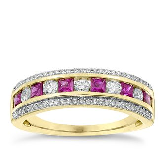 18ct Yellow Gold Ruby and 1/3ct Diamond Eternity Ring - Product number 4924312