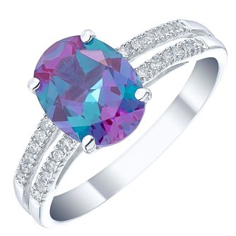 9ct White Gold Alexandrite and Diamond Ring - Product number 4925122