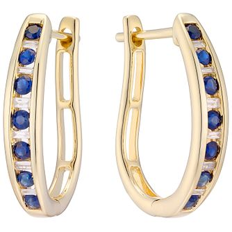9ct Yellow Gold Sapphire and Diamond Hoop Earrings - Product number 4928725