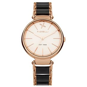 Fiorelli Ladies Black/Rose Gold Bracelet Watch - Product number 4928822