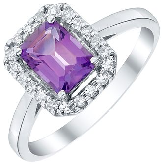 9ct White Gold Amethyst and Diamond Ring - Product number 4928903