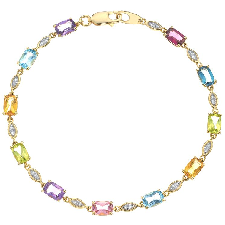9ct Yellow Gold Multi Stone and Diamond Bracelet