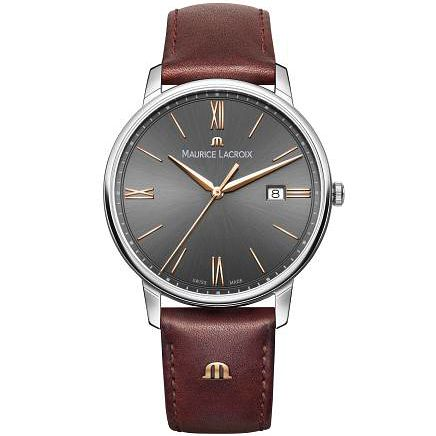 Maurice Lacroix Men's Stainless Steel Brown Strap Watch - Product number 4936388
