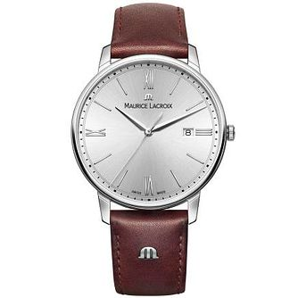 Maurice Lacroix Men's Stainless Steel Brown Strap Watch - Product number 4936442