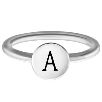 Chamilia Sterling Silver A Alphabet Disc Ring Size J - Product number 4945581