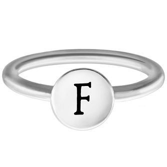 Chamilia Sterling Silver F Alphabet Disc Ring Size P - Product number 4947177