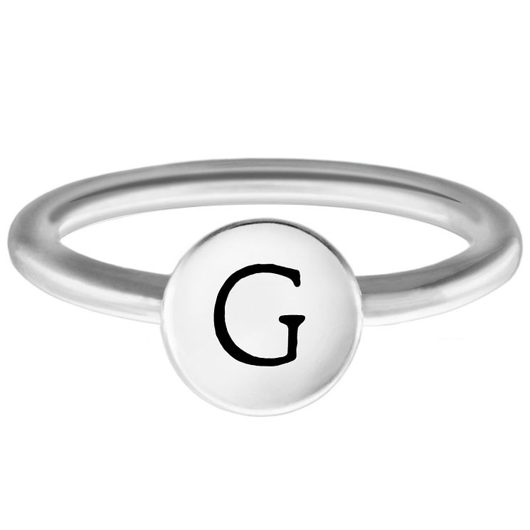Chamilia Sterling Silver G Alphabet Disc Ring Size R - Product number 4947347