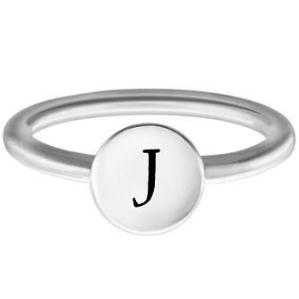 Chamilia Sterling Silver J Alphabet Disc Ring Extra Small - Product number 4947584