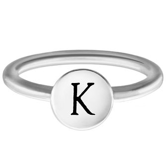 Chamilia Sterling Silver K Alphabet Disc Ring Extra Small - Product number 4947630
