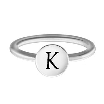 Chamilia Sterling Silver K Alphabet Disc Ring Size R - Product number 4947819