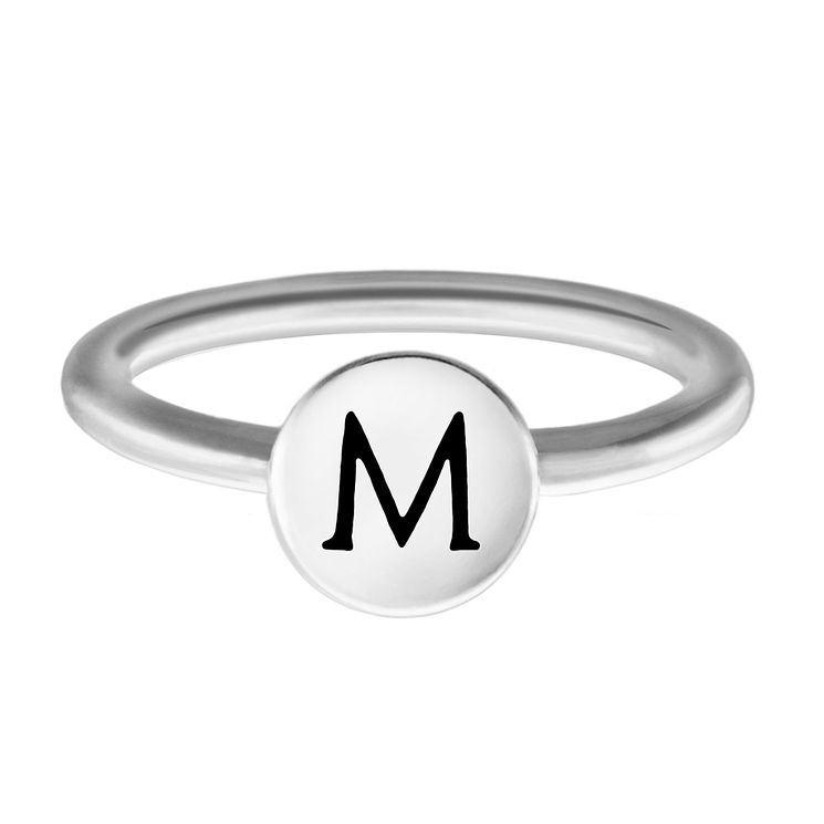 Chamilia Sterling Silver M Alphabet Disc Ring Size P - Product number 4947916