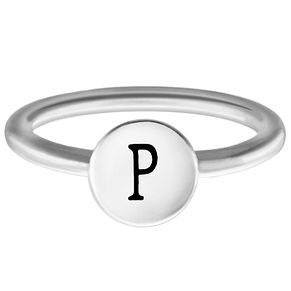 Chamilia Sterling Silver P Alphabet Disc Ring Extra Small - Product number 4948165