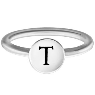 Chamilia Sterling Silver T Alphabet Disc Ring Size J - Product number 4949226