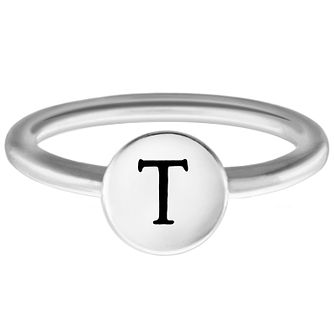 Chamilia Sterling Silver T Alphabet Disc Ring Size R - Product number 4949269