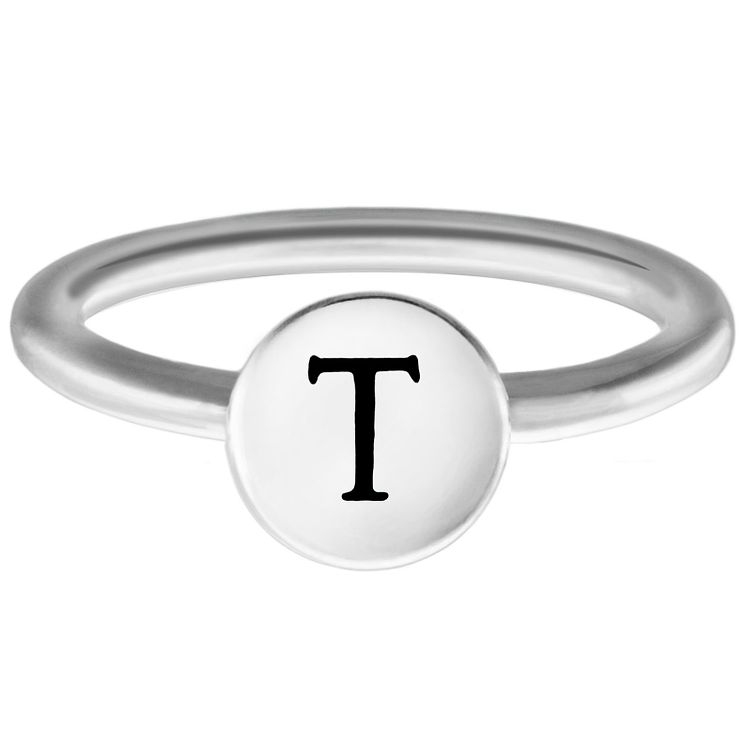 Chamilia Sterling Silver T Alphabet Disc Ring Extra Large - Product number 4949269