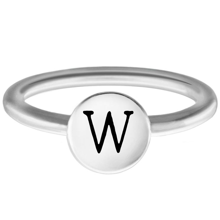 Chamilia Sterling Silver W Alphabet Disc Ring Medium - Product number 4949544