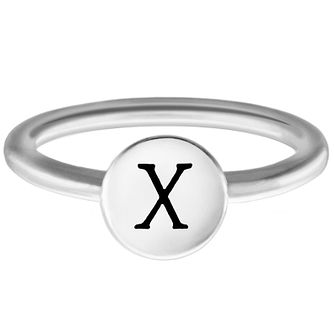 Chamilia Sterling Silver X Alphabet Disc Ring Size J - Product number 4949579